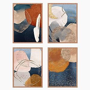 YUMKNOW Boho Abstract Wall Art, Unframed 8x10