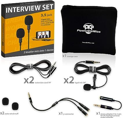2 Micrófonos de Solapa Para Doble Entrevista - Doble Micrófono de ...