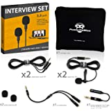 Professional Grade 2 Lavalier Lapel Microphones Set for Dual Interview - Dual Lavalier Microphone - 2 Lavalier Microphone Set - Perfect as Blogging Vlogging Interview Microphone for iPhone 6, 7, 8, X