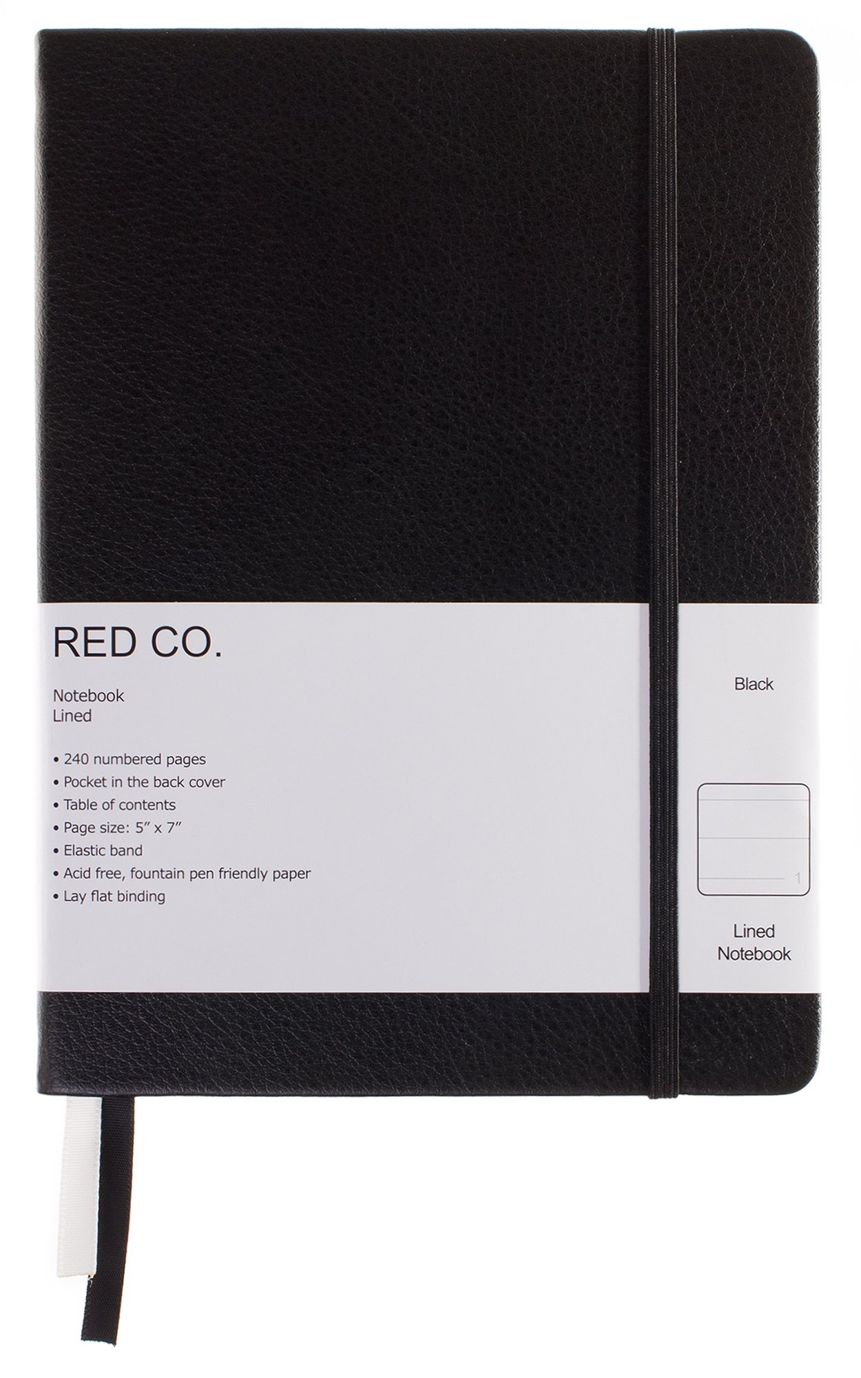 Red Co Classic Black Hardcover Notebook Journal, 240 Pages, 5''x7''- Lined/Ruled (Black Lined 100 GSM)