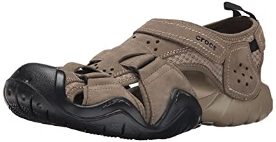 e6490b67a280 crocs Men s Swiftwater Leather Fisherman Sandal