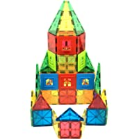 Innomags Magnet Tiles 110 Piece Magnetic Building Blocks Jumbo Tile Set, Clear 3D Magnetic Tiles Stem Educational Construction Playboards for Kids, Creative Clickins, Wheels, Bag, Safety Certified