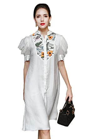 21662ac66af0dc Image Unavailable. Image not available for. Color  VOA Autumn Puff Sleeve  White Silk Jacquard Shirt Chinese Style Embroidered Long Blouse Plus Size  Loose