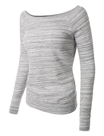 2689e47d LE3NO PREMIUM Womens Oversized Wide Neck Off the Shoulder Sweatshirt ...