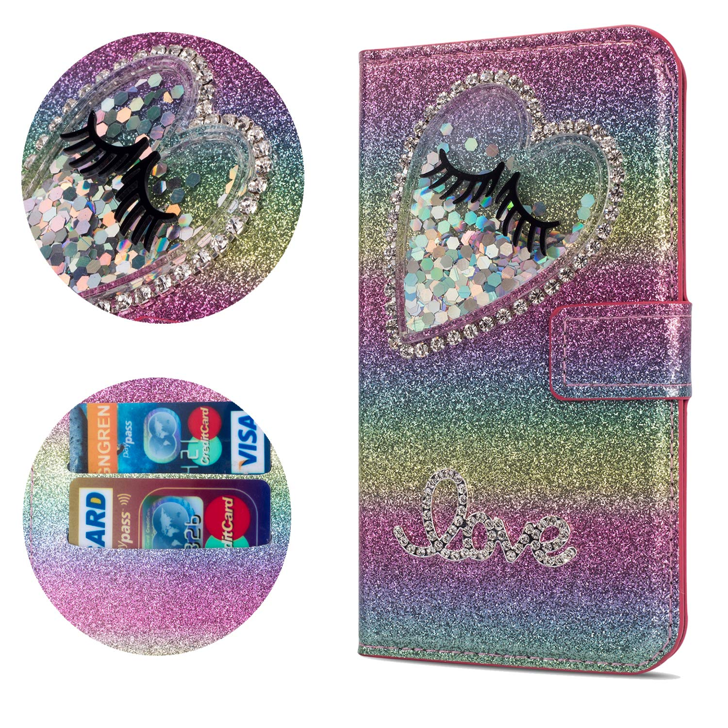 Stysen Flip Case for Huawei Mate 20 Pro,Leather Cover with 3D Handmade Diamond Heart Sequins Glitter Shiny Wallet Magnetic Clasp for Huawei Mate 20 Pro
