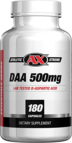 D-Aspartic Acid DAA 30 Day Supply of 3000 mg 500mg caps, 180 caps Natural Testosterone Booster Purity Tested, Highest Quality Available