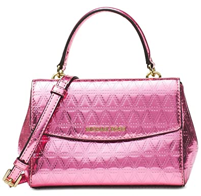 aa3c7d1eed03 MICHAEL Michael Kors Ava Mini Specchio Leather Crossbody Bag, Soft Pink:  Amazon.in: Shoes & Handbags