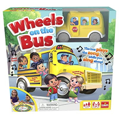 "Pressman 8537 Wheels On The Bus Board Game Plays Song While You Sing Along, 5"" Yellow: Toys & Games"