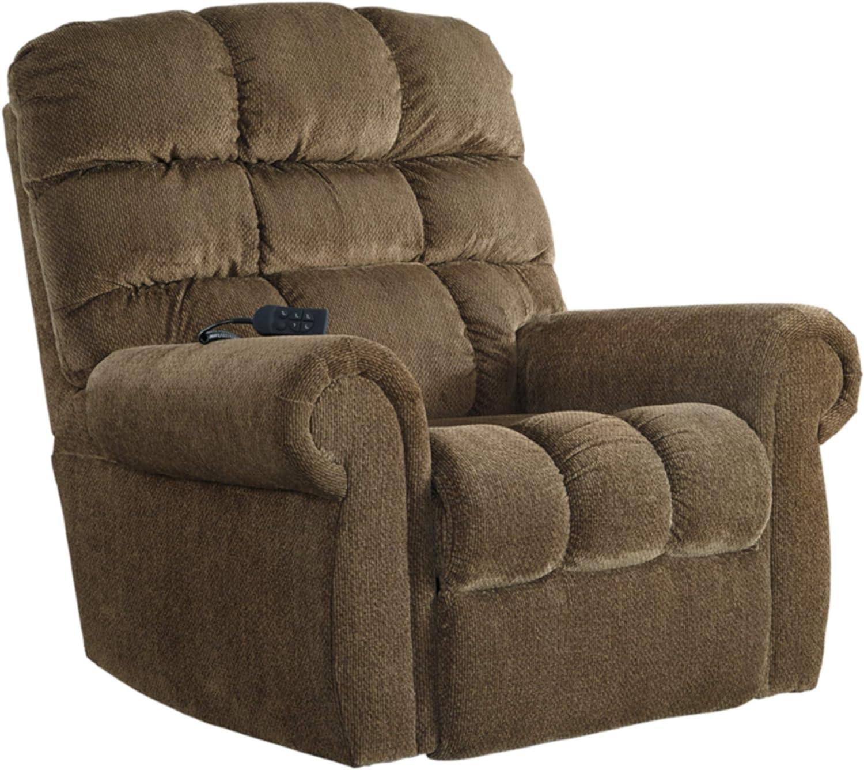 Amazon Com Signature Design By Ashley Ernestine Upholstered Power Lift Adjustable Oversized Recliner Brown Furniture Decor