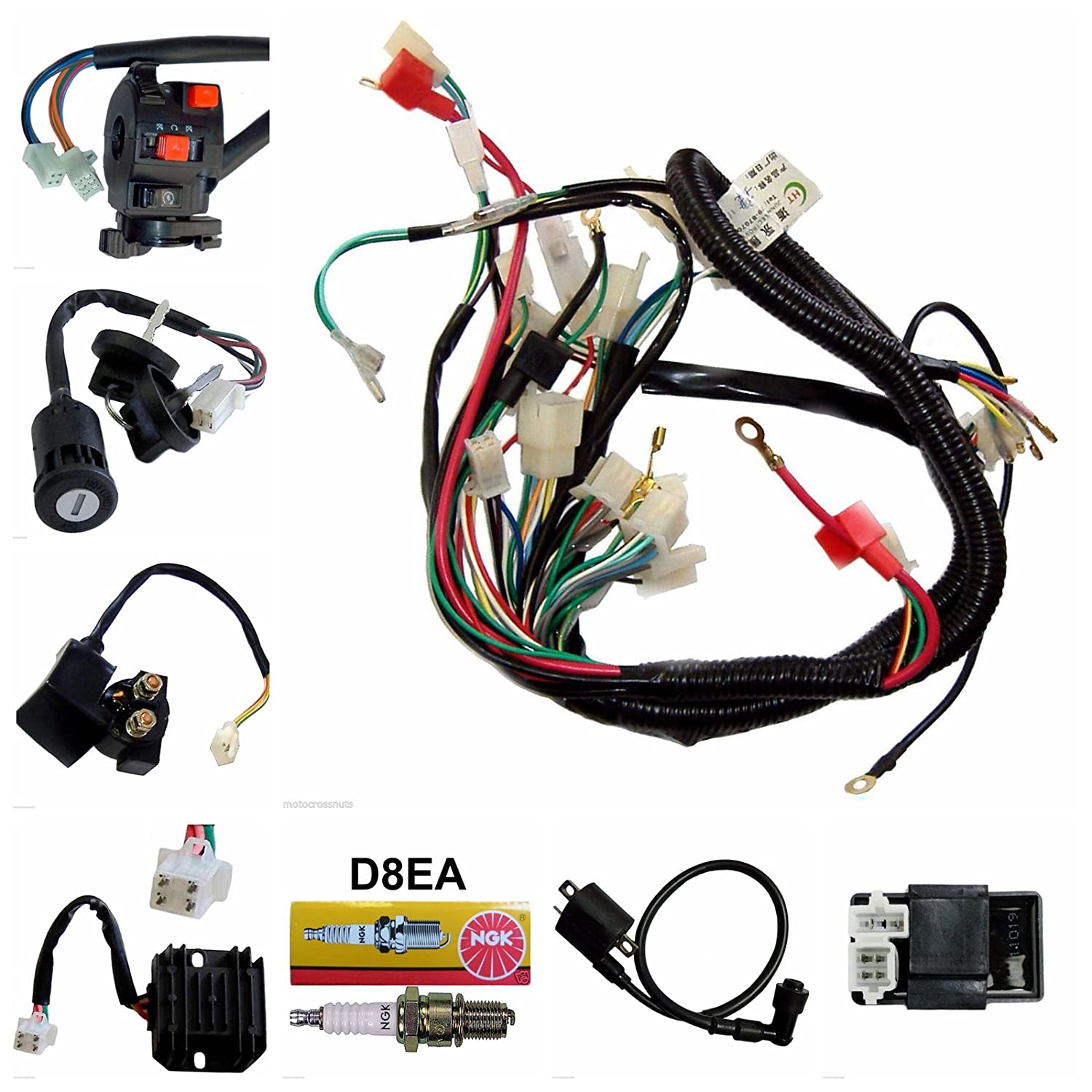 Complete Wiring Harness Kit Loom Full Electrics Stator Coil Ac Type Loncin 200cc Atv Diagram Cdi For Quad 4 Four Wheelers 150cc 250cc Go Kart Electrical Amazon Canada
