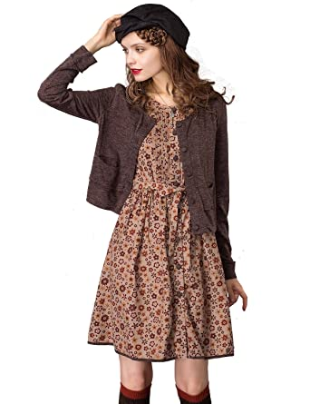 56e9d742800 Artka Women s Cardigan Dress Set with Sleeveless Floral Midi Dress and Long  Sleeve Knit Cardigan Sweater at Amazon Women s Clothing store