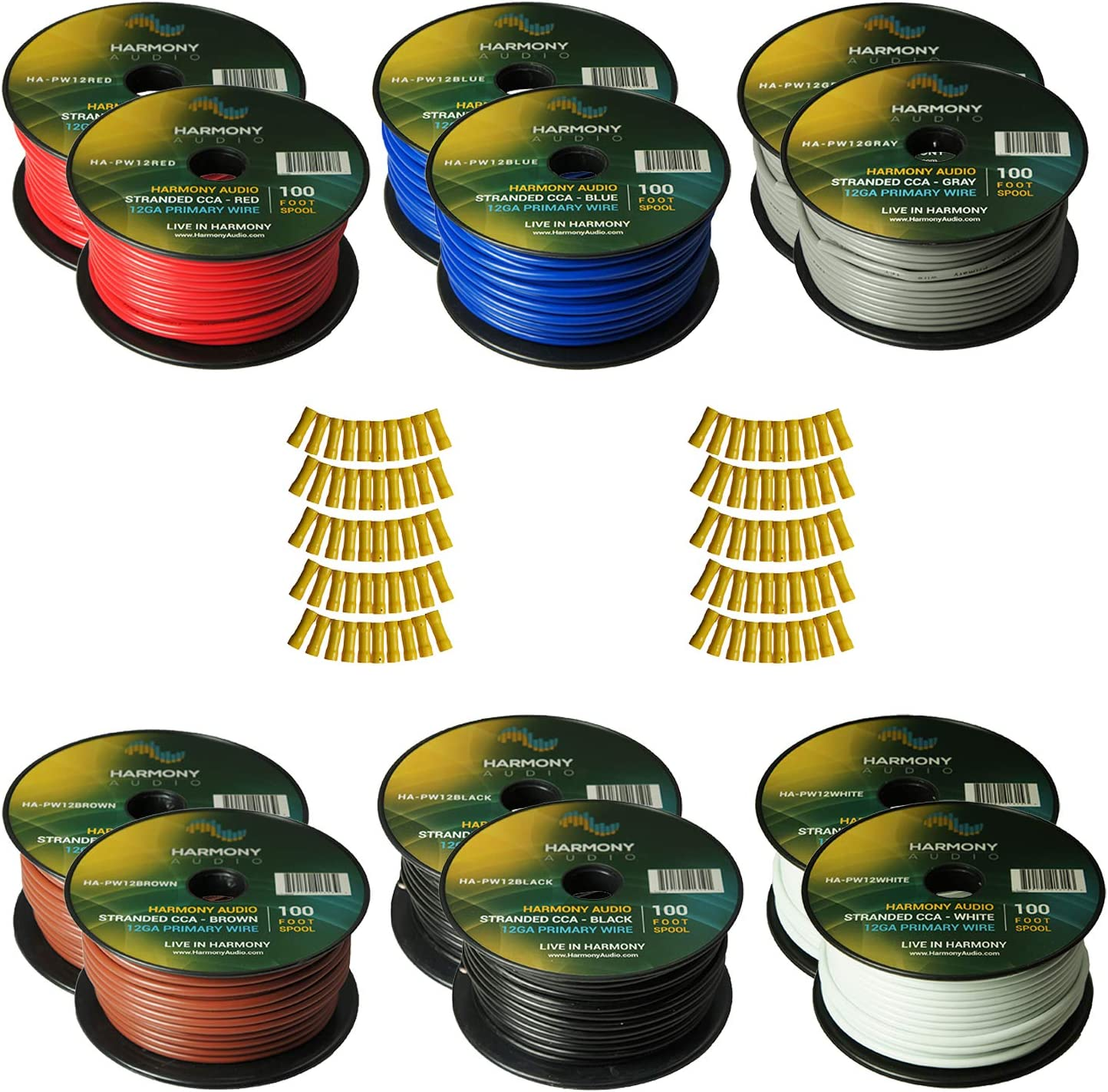 Harmony Audio Primary Single Conductor 12 Gauge Power or Ground Wire - 12 Rolls - 1200 Feet - 6 Color Mix for Car Audio/Trailer/Model Train/Remote