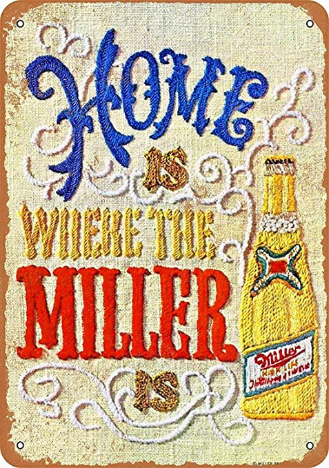 HALEY GAINES Miller Beer Placa Cartel Póster de Pared Metal ...
