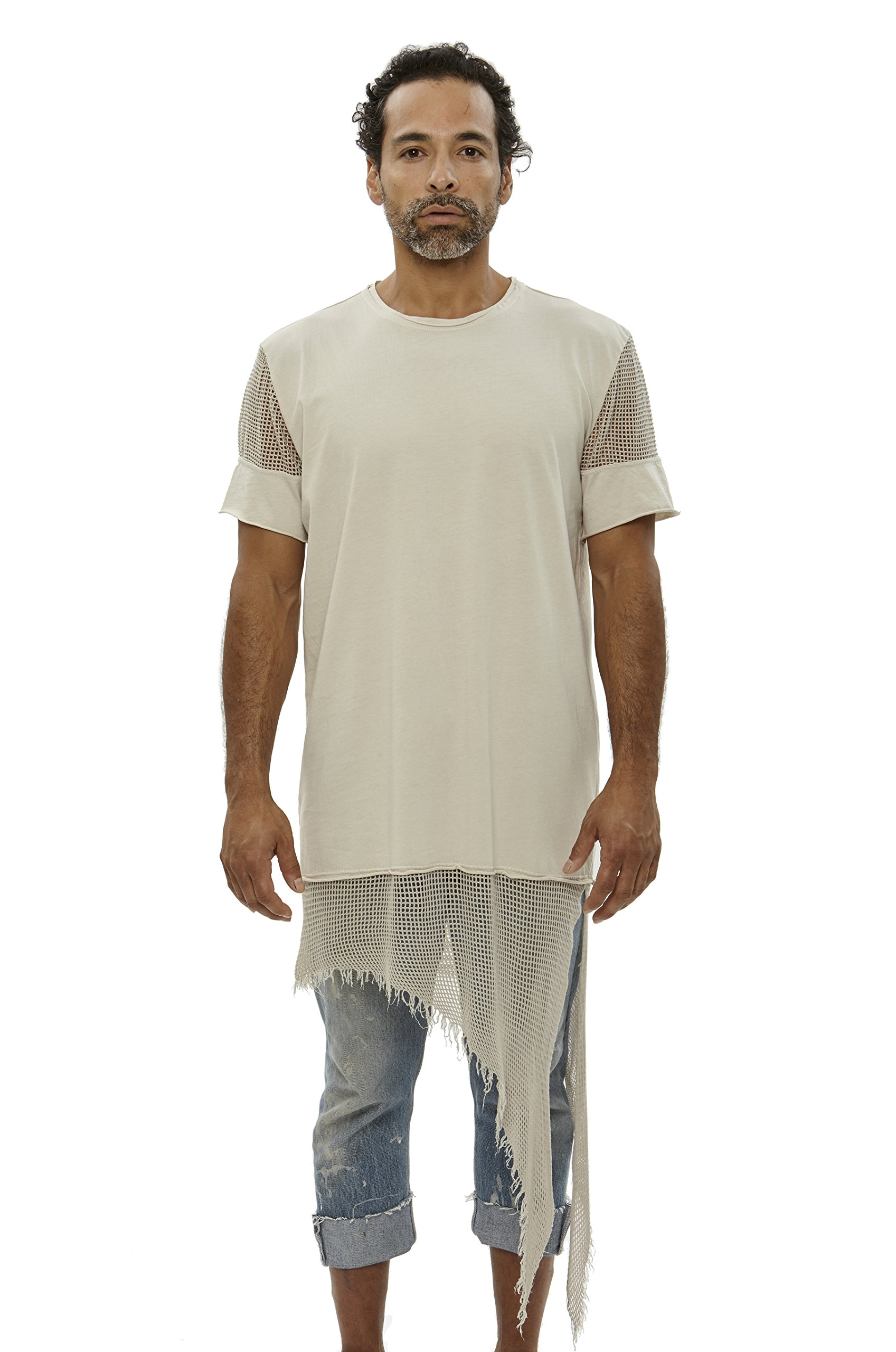 UNCOMMON THRDS Mens Top: Short Sleeve Jersey Elongated Asymmetric Hem With Mesh Contrast Panels Sunfade - S