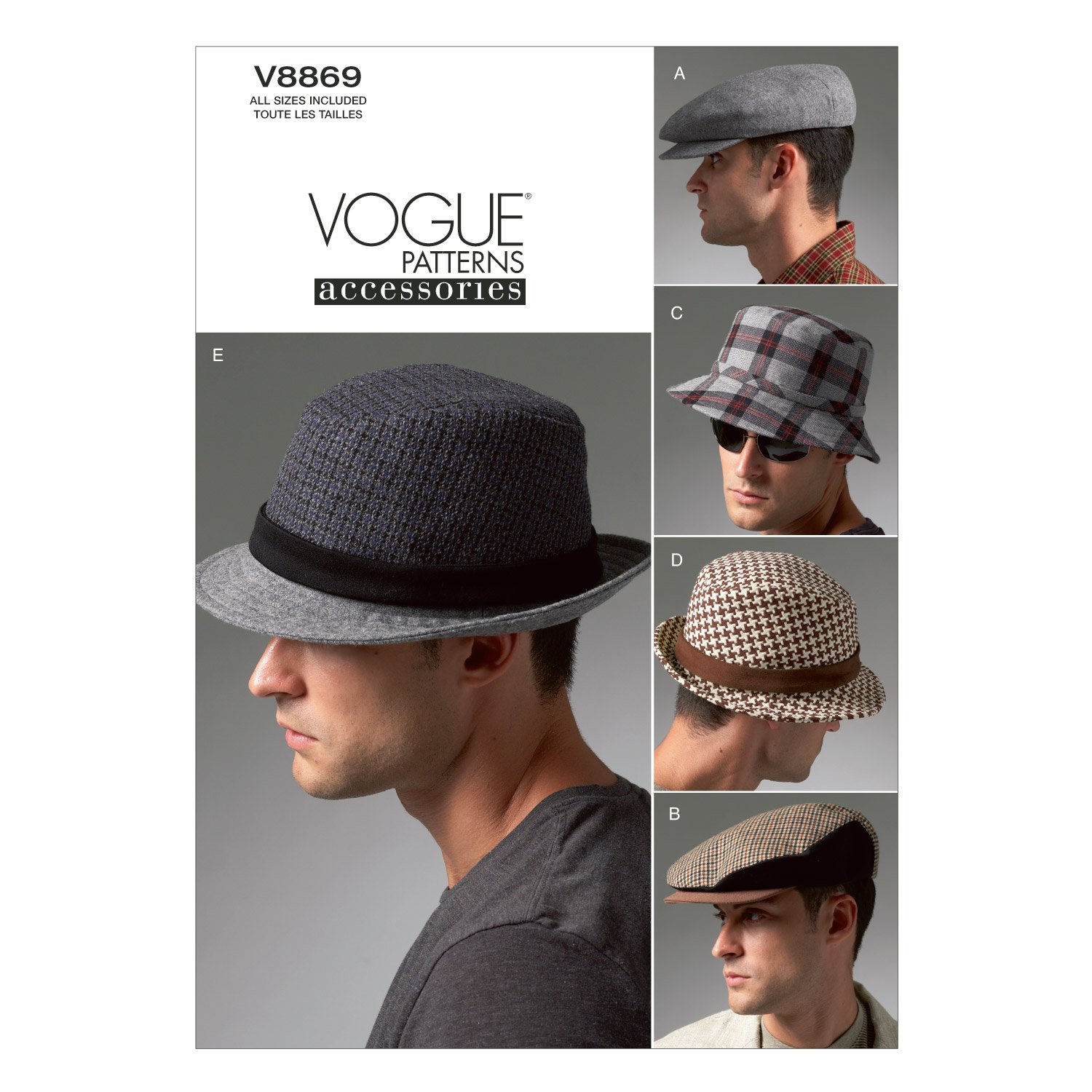 Amazon.com: Vogue Patterns V8869 Men\'s Hats Sewing Template, All ...