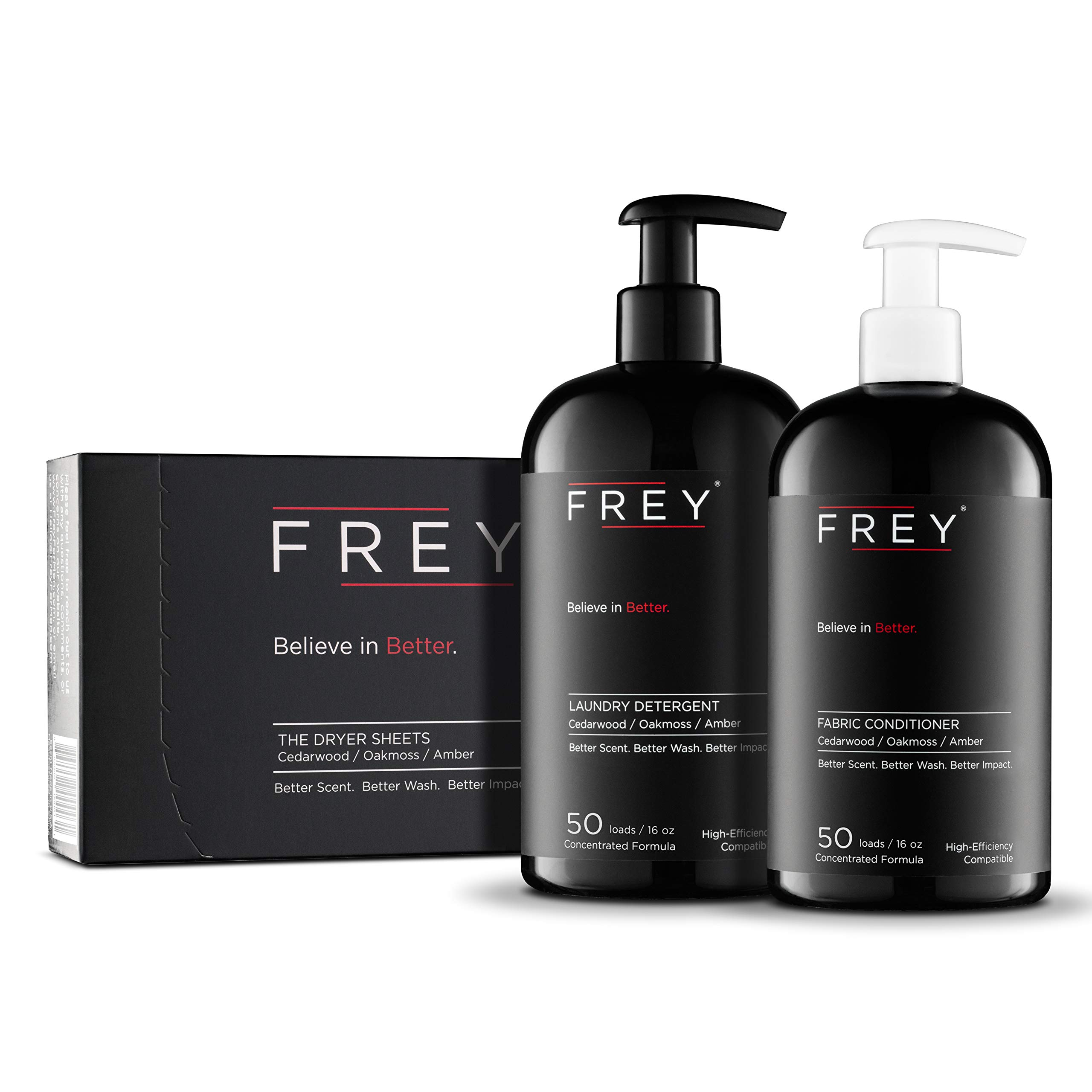 FREY Concentrated Clothes Detergent, Fabric Conditioner and Fabric Sheets Complete Package