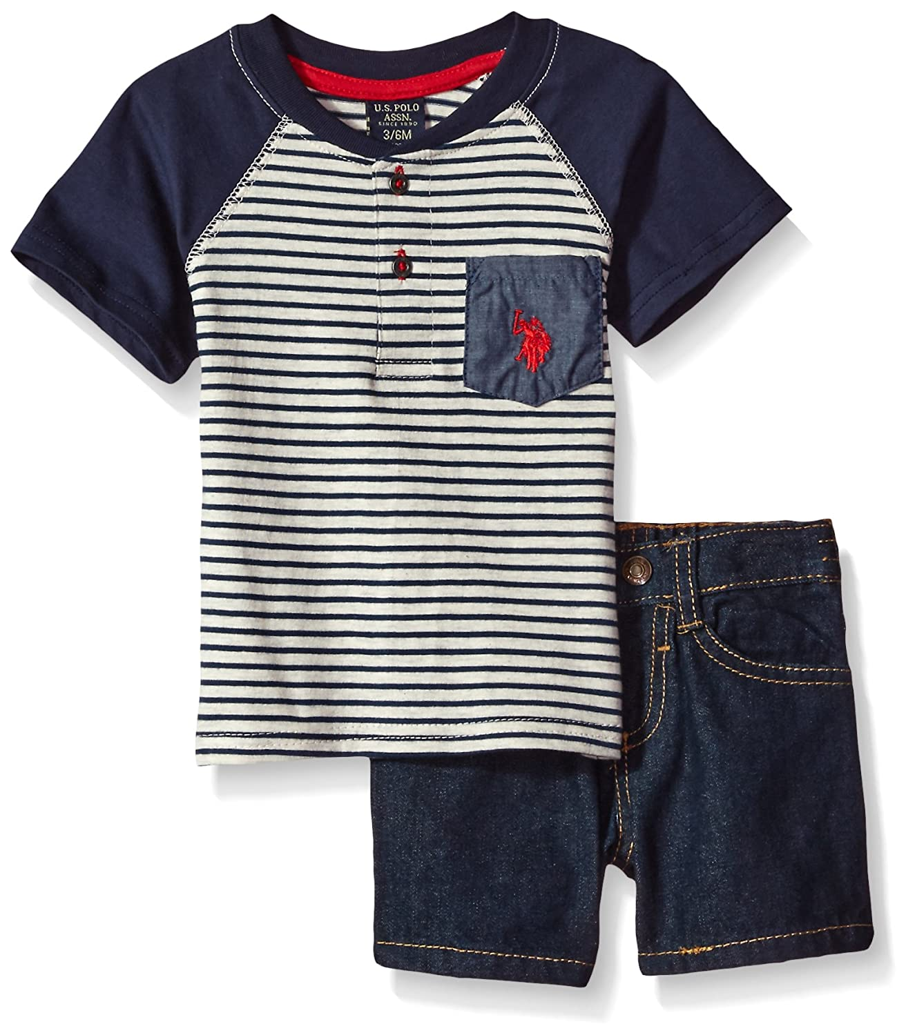 Polo Assn Baby Boys Striped Henley with 5 Pocket Denim Short U.S