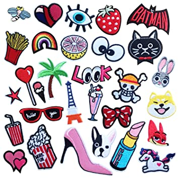 30PCS Iron On Patches Embroidered Appliques DIY Decoration or Repair,Sew On  Patches for Clothing Backpacks Jeans Caps Shoes etc (A Style)