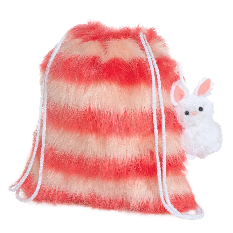 Manhattan ToyファジーピンクストライプドローストリングバックパックwithクリップオンBunny Stuffed Animal   B07BQ9XR15