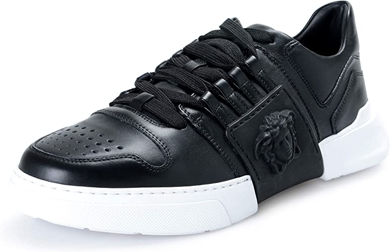Versace Collection Mens Black Leather Fashion Sneakers Shoes Sz US 10 IT 43