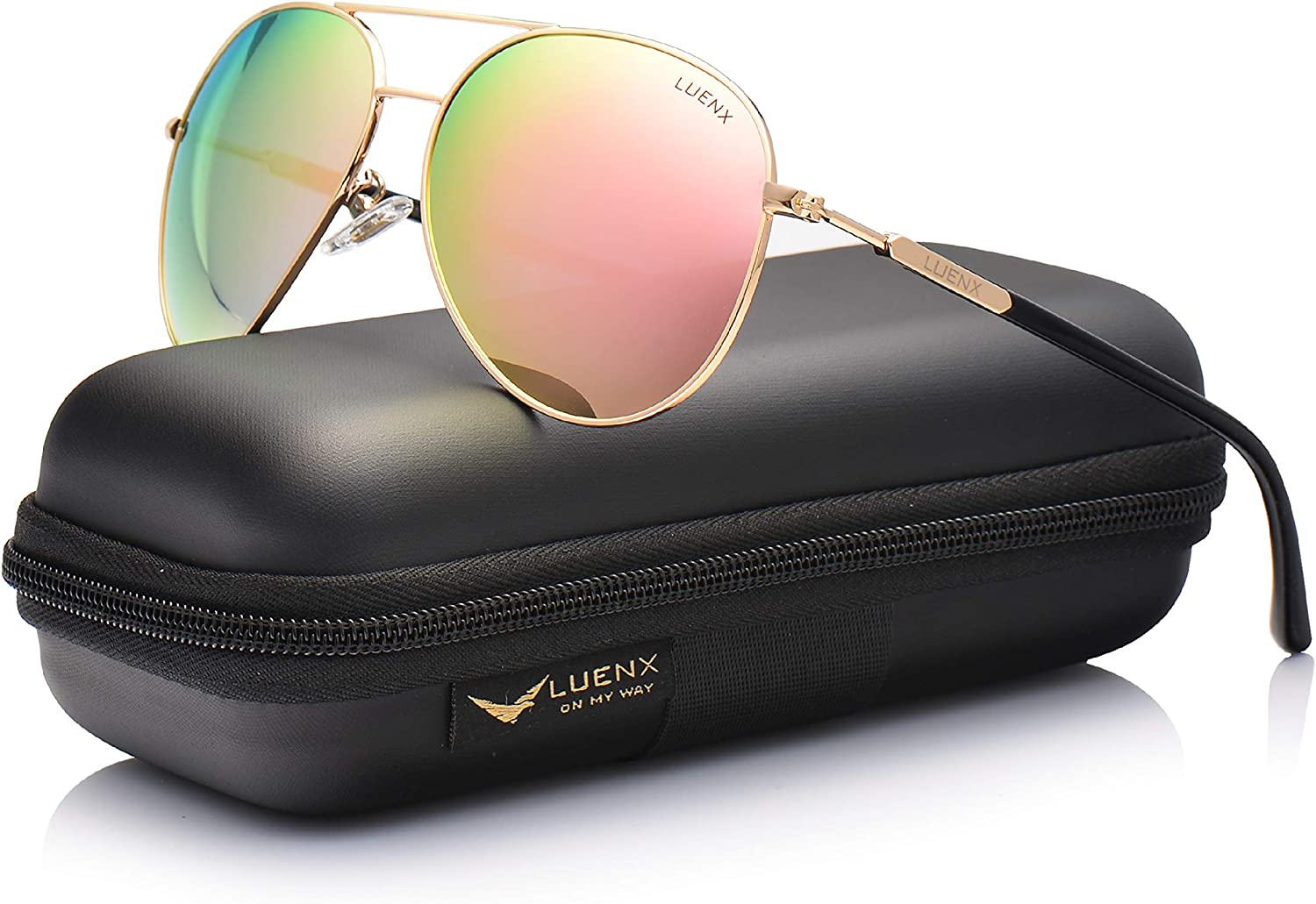 LUENX Aviator Sunglasses for Women Polarized UV 400 Protection with case 60MM
