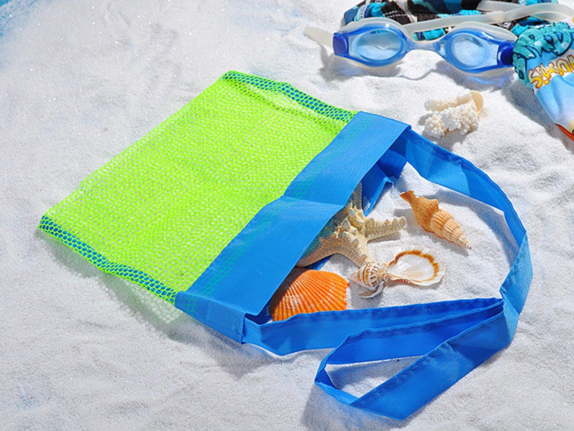 MODARANI Kid's Small Mesh Beach Bag Water Toy Tote Bag Crossbody Travel Bag for Boys Girls by MODARANI (Image #3)