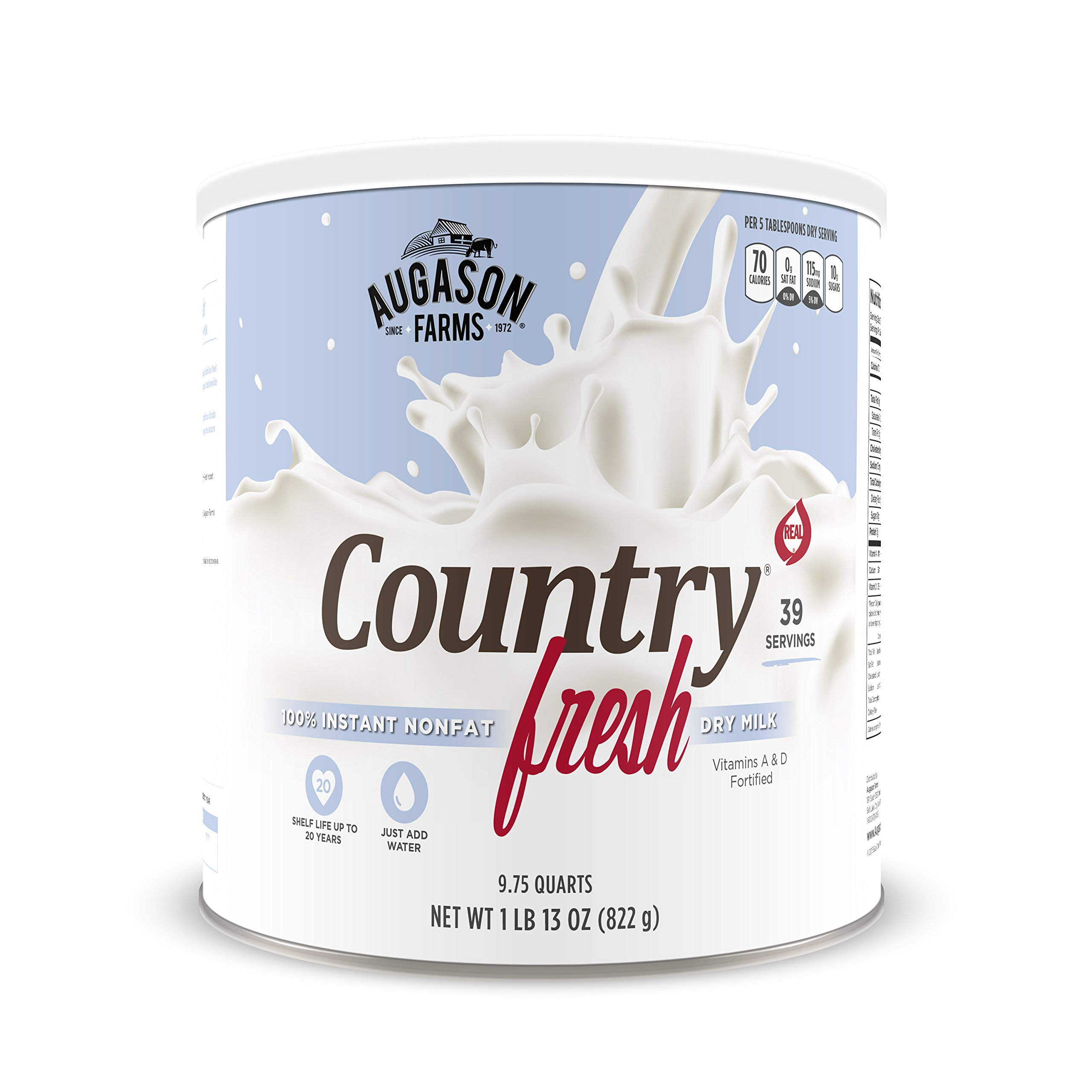 Augason Farms Country Fresh 100% Real Instant Nonfat Dry Milk 1 lb 13 oz No. 10 Can by Augason Farms