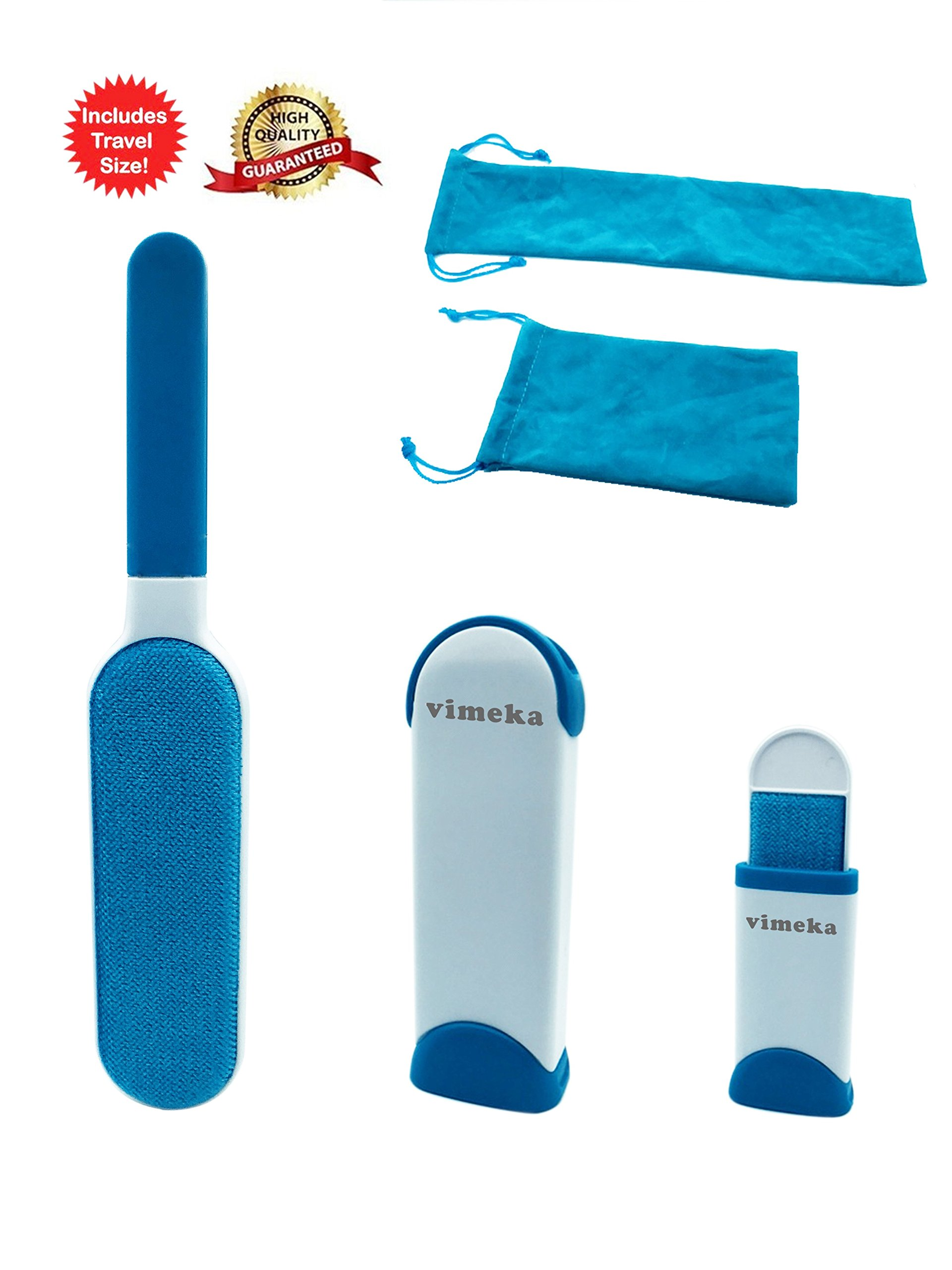 VIMEKA Pet Hair Remover Brush,Fur Wizard,Lint Remover,Simple Pet Hair Remover from Clothing,Double-Side Lint Brush as Seen on TV for Dog and Cat,Furniture Travel Size,Blue