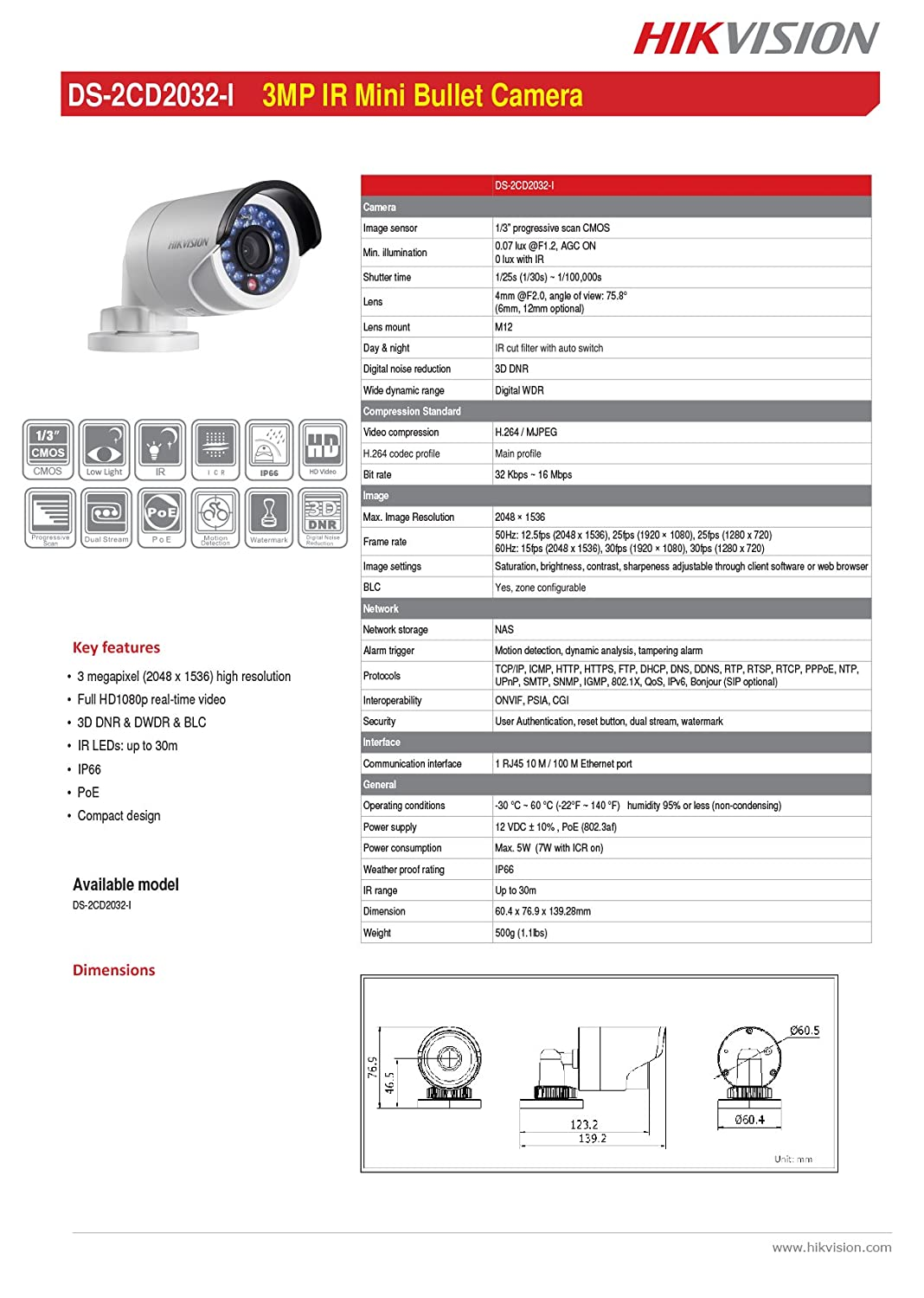 Hikvision Ds 2cd2032 I Fixed Focal Lens Mini Bullet Adjustable 60hz Filter Network Camera 3mp Full Hd 2048x1536 4mm True Day Night Poe 12vdc