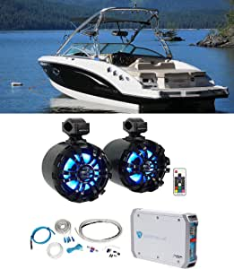 "2 Rockville WB65KLED 6.5"" 600w Black Marine Wakeboard Swivel LED Speakers+Amp"
