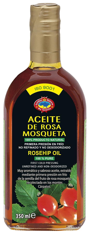 Aceite de Rosa Mosqueta (350 ml) Primera Presión en Frío y sin refinar. 100% puro y natural. Certificado (ISO 9001:2008)