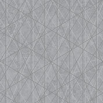 Papier Peint Geometrique Laser Glitter Gris Argent Debona