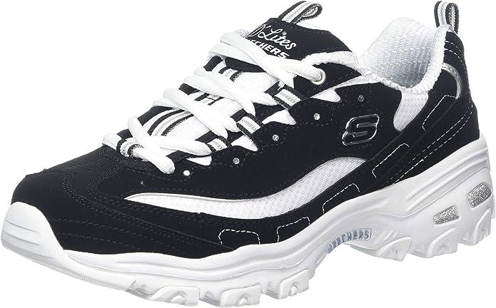 Skechers D'Lites Biggest Fan Sneakers Damen Schwarz Weiß (Weiße Sohle)