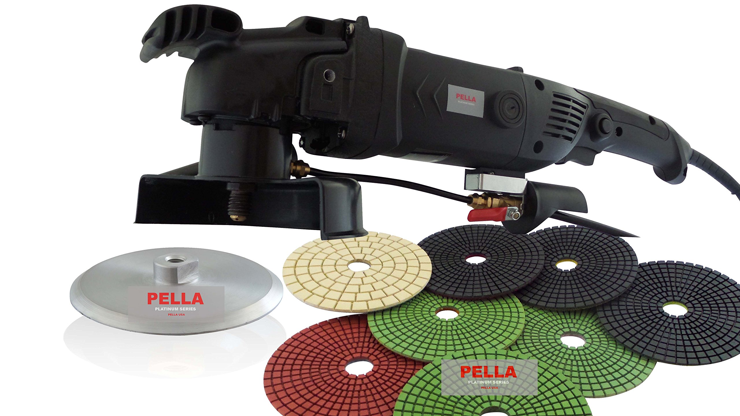 PELLA USA 1200 WATT HEAVY DUTY GRANITE POLISHER WITH 5'' 8PC PADS AND 5'' ALUMINUM BACKER PAD