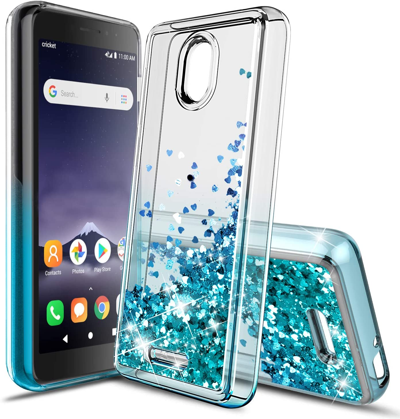 Jemo Case for Alcatel Insight (Cricket)/TCL A1 A501DL Four-Corner Glitter Clear Bling Quicksand Slim Shockproof Protective for Girls/Women(Teal/Purple)