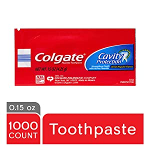 COLGATE Cavity Protection Toothpaste, Great Regular Mint Flavor, Fluoride Toothpaste, Travel Size Toothpaste, Travel Size Toiletries, 0.15 Ounce (Pack of 1,000) (150130)