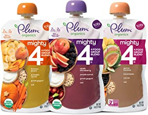 Plum Organics Mighty 4, Organic Toddler Food, Variety Pack, 4 Ounce (Pack of 18)