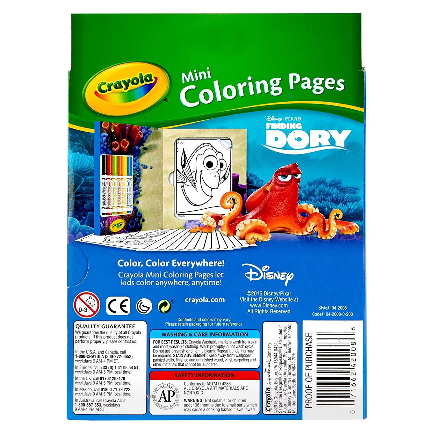 Crayola Finding Dory Mini Coloring Pages Binney /& Smith 04-2008