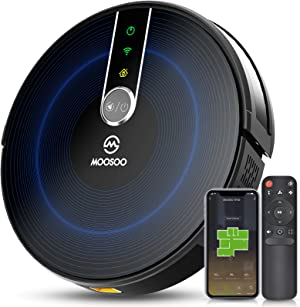 MOOSOO Robot Vacuum with Mapping Technology, 2200Pa Strong Suction Quiet Smart WiFi Robot Vacuum Cleaner, Super Thin Alexa Robotic Vacuum with Self-Charging for Pet Hair, Carpets, Hard Floor
