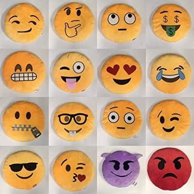 "Gloworks 12"" Emoji Pillow (Set of 20) Assorted Emojis: Home & Kitchen"