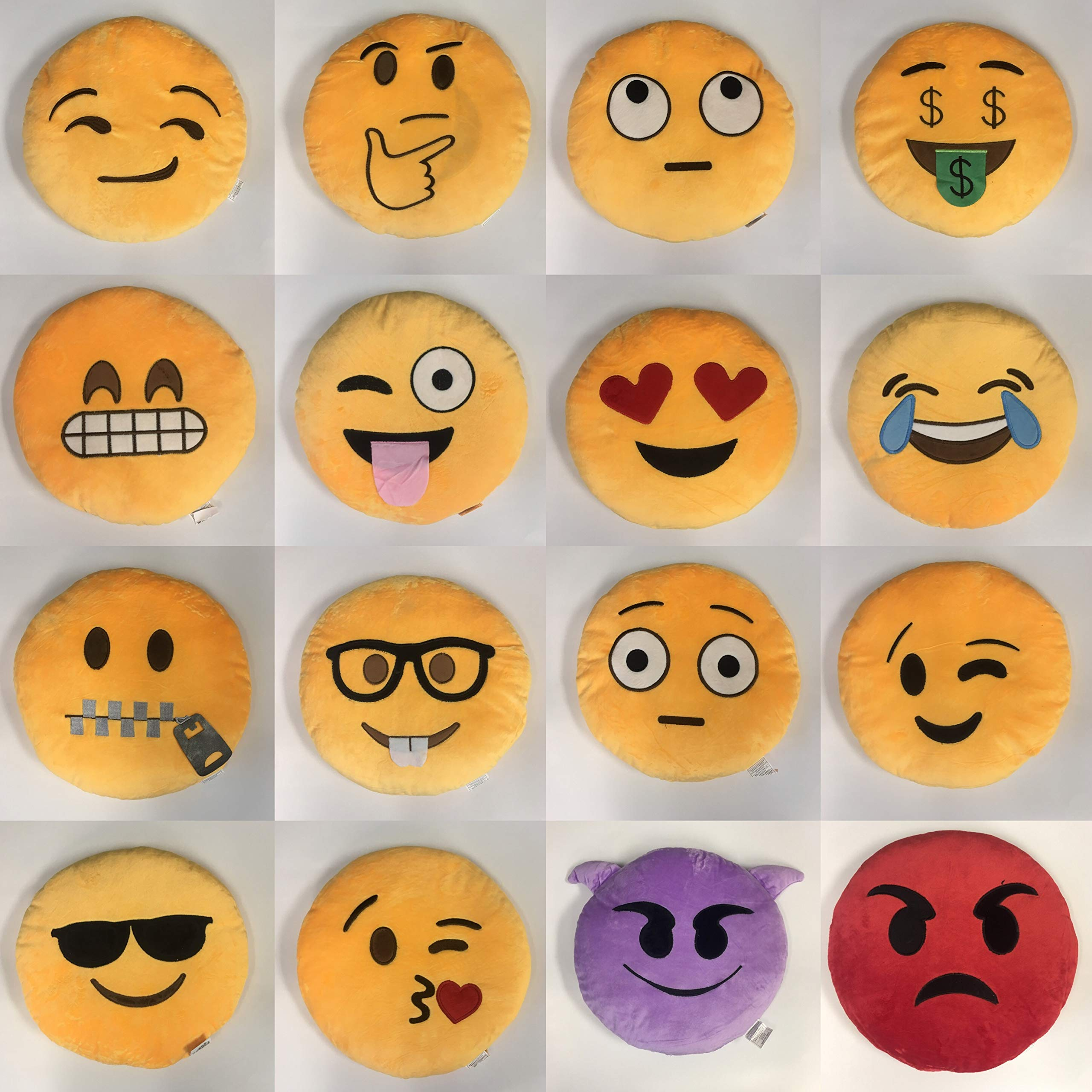 Gloworks 12'' Emoji Pillow (Set of 20) Assorted Emojis