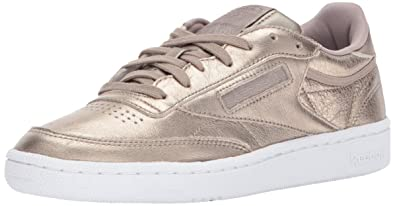 164fa4b4847a69 Reebok Women s Club C 85 Melted Metal Sneaker Pearl met-Grey Gold White 6