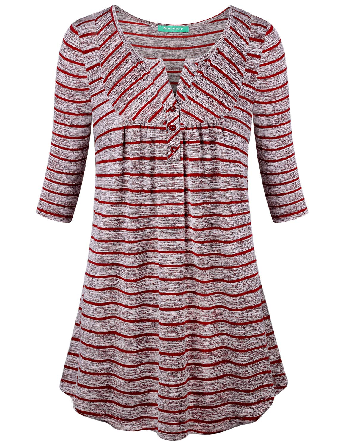 Cotton Tunic,Kimmery Womens Shirts Cute Half Sleeve Flared Hem Loose Colorful Striped Trendy Blouse Plus Size Soft and Comfy Tunics Top Wine Red XX-Large