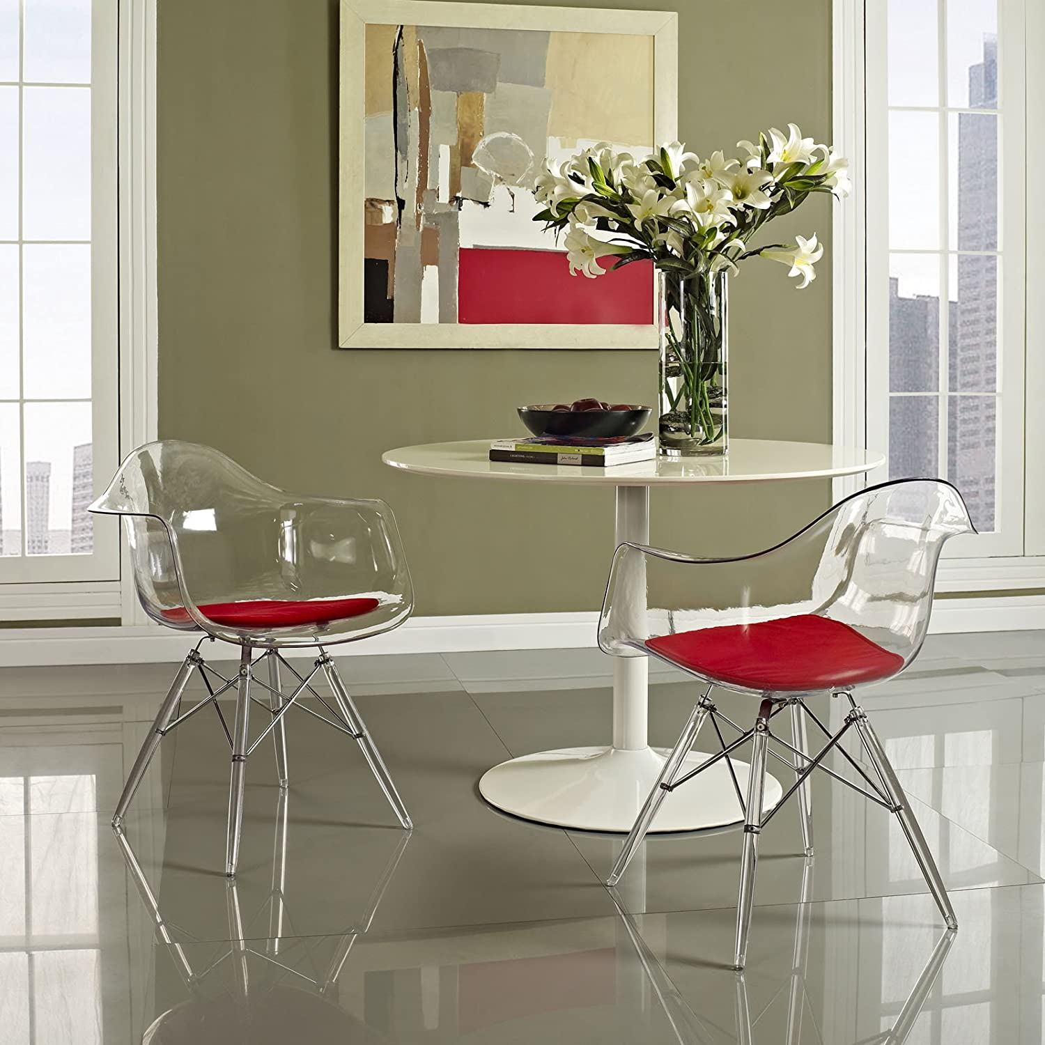 amazon com modway pyramid dining armchair in red chairs