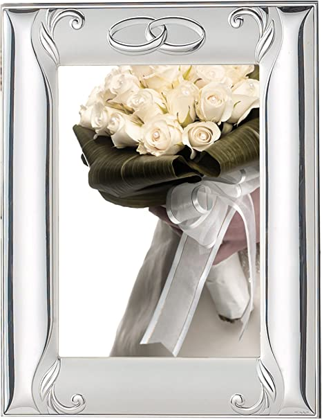 Amazon Com 925 Sterling Silver Picture Frame Wedding Anniversary Interlocking Rings And Mirror 8 X 10 Made In Italy Home Kitchen