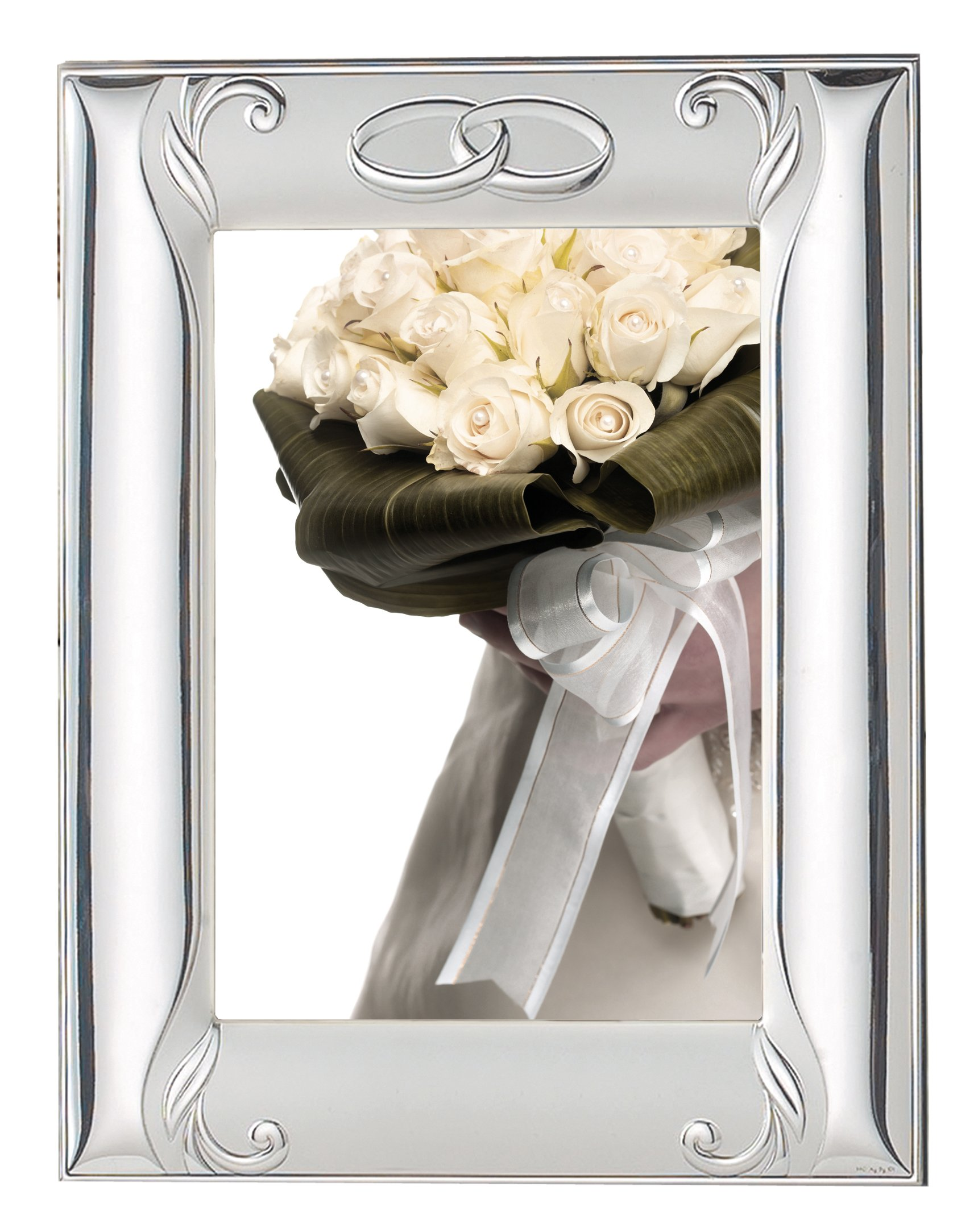STERLING SILVER PICTURE FRAME ANNIVERSARY ''INTERLOCKING RINGS'' and MIRROR (8'' x 10''). Made in ITALY