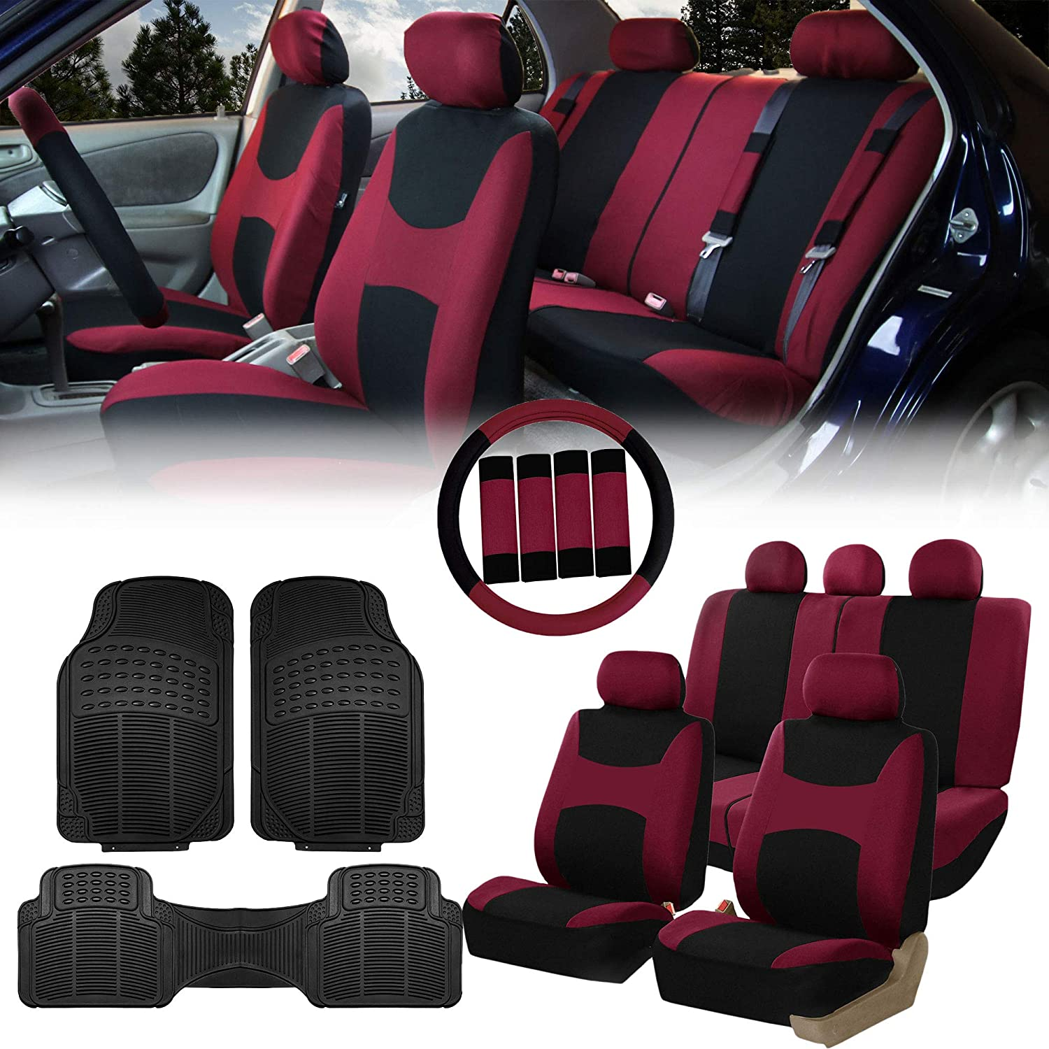 Truck Airbag /& Split Ready Solid Black Combo Set: Steering Wheel Cover SUV Seat Belt Pads and F11306 Vinyl Floor Mats-Fit Most Car FH Group FH-FB030115 Light /& Breezy Cloth Seat Covers or Van
