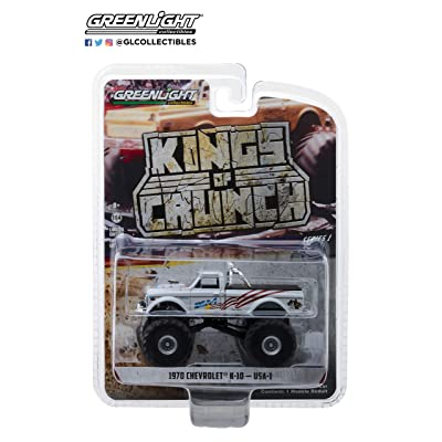 Greenlight 1970 Chevrolet K-10 USA-1 Monster Truck White Kings of Crunch Series 1/64 Diecast Model Car 49010 B: Toys & Games