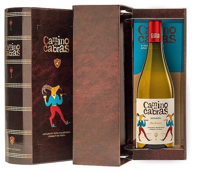 CAMINO DE CABRAS Estuche regalo - vino blanco - Albariño Rias Baixas - Producto Gourmet – caja de vino - Vino bueno para regalo - 1 botella x 75cl