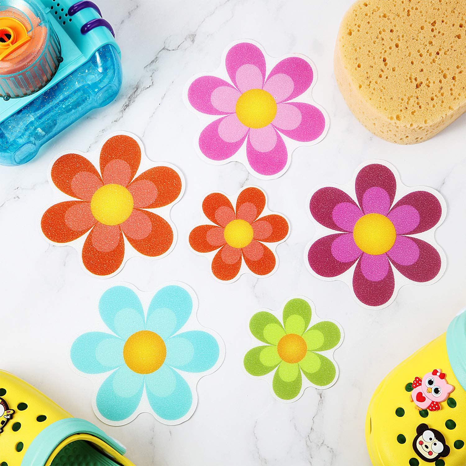 Daisy Bath Treads and Anti-Slip Appliques for Bath Tub 10 Pieces Non Slip Bathtub Stickers Adhesive Decals with Bright Colors Shower Room and Other Slippery Surfaces Multi-Color Flowers Stairs
